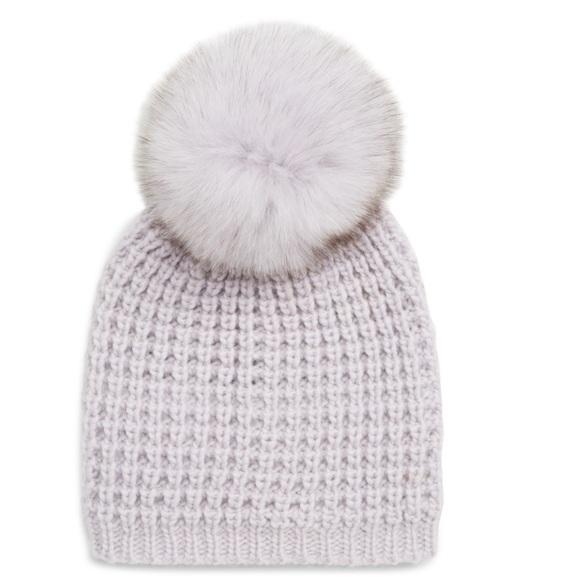 813905c11 Kyi Kyi Genuine Fox Fur Pom Pom Knit Beanie Hat NWT